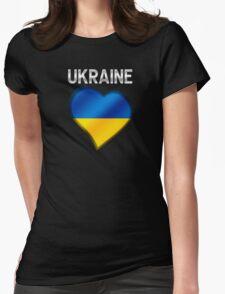 Ukraine - Ukrainian Flag Heart & Text - Metallic Womens Fitted T-Shirt