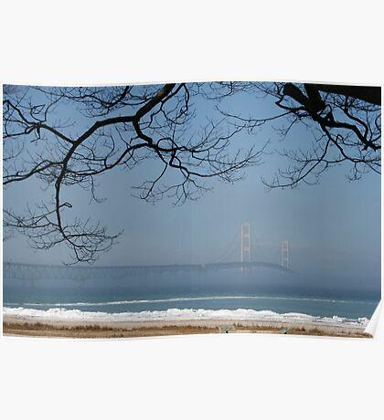 Foggy Mackinac Bridge Poster