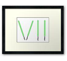 Star Wars The Force Awakens (Episode Seven) VII Green Lightsaber Framed Print