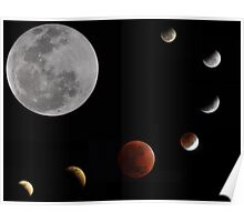 Phases of the moon _ Lunar eclipse 10.12.11 Poster