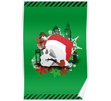 Skull Christmas - Green Poster