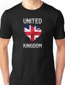 United Kingdom - British Flag Heart & Text - Metallic Unisex T-Shirt