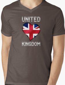 United Kingdom - British Flag Heart & Text - Metallic Mens V-Neck T-Shirt