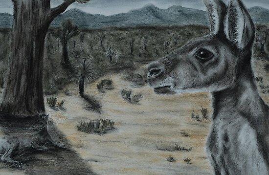 Australian Bush Scene (tinted charcoal) by gogston