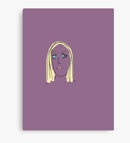 Purple Girl with Yellow Hair Canvas Print