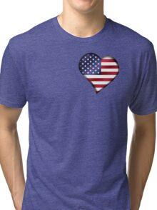American Flag - USA - Heart Tri-blend T-Shirt