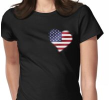 American Flag - USA - Heart Womens Fitted T-Shirt