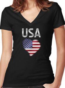 USA - American Flag Heart & Text - Metallic Women's Fitted V-Neck T-Shirt