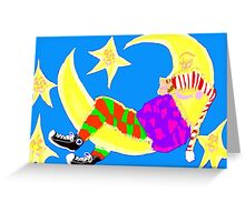 Sleeping On The Moon Surrounded By Stars Greeting Card