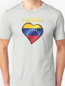 Venezuela - Venezuelan Flag Heart & Text - Metallic T-Shirt