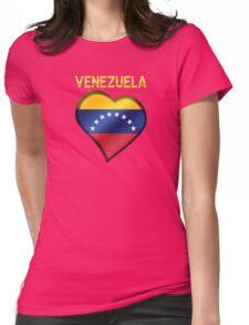 Venezuela - Venezuelan Flag Heart & Text - Metallic Womens Fitted T-Shirt
