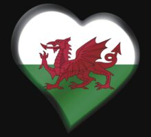 Welsh Flag - Wales - Heart One Piece - Short Sleeve
