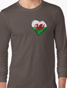 Welsh Flag - Wales - Heart Long Sleeve T-Shirt