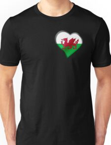 Welsh Flag - Wales - Heart Unisex T-Shirt