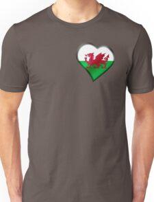 Welsh Flag - Wales - Heart Unisex T-Shirt