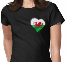 Welsh Flag - Wales - Heart Womens Fitted T-Shirt