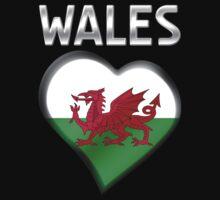 Wales - Welsh Flag Heart & Text - Metallic Kids Tee