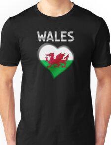 Wales - Welsh Flag Heart & Text - Metallic Unisex T-Shirt