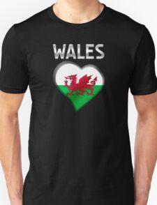 Wales - Welsh Flag Heart & Text - Metallic T-Shirt
