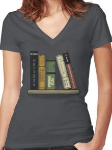 Recommended Reading Women's Fitted V-Neck T-Shirt