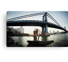Yoga by Manthattan Bridge, Brooklyn New York Canvas Print