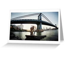 Yoga by Manthattan Bridge, Brooklyn New York Greeting Card