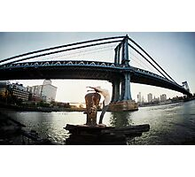 Yoga by Manthattan Bridge, Brooklyn New York Photographic Print