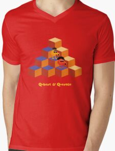 Q*Bert and Q*ernie Mens V-Neck T-Shirt