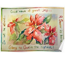 Poinsettia Good News of Great Joy Poster