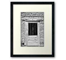 Old Jailhouse Door in Black and White Framed Print