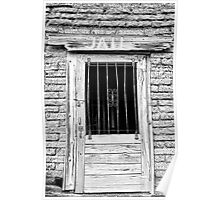 Old Jailhouse Door in Black and White Poster