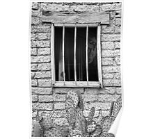 Old Western Jailhouse Window Poster