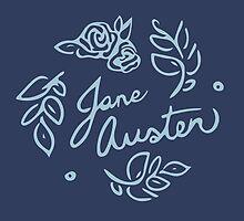 Jane Austen Floral Print by pencilhappy