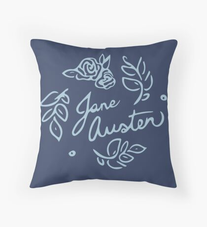 Jane Austen Floral Print Throw Pillow