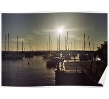 Sun flare Though Masts Poster