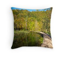 On the wooden path Throw Pillow