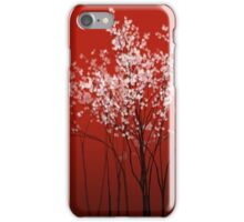 Cherry Blossom - red background iPhone Case/Skin
