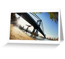 Acroyoga in front Manhattan Bridge, New York  Greeting Card