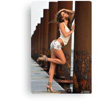 Sexy fashion model posing pretty at rusty boat marina Canvas Print