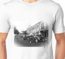 Vintage, Antique Cars on Display, Black and White Unisex T-Shirt