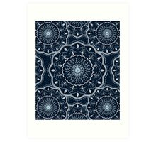 Black White Blue Mandala Art Print