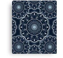 Black White Blue Mandala Canvas Print