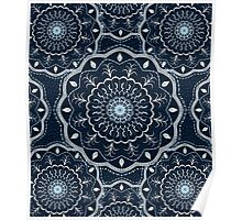 Black White Blue Mandala Poster