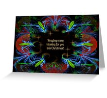 Christmas Blessings and Fractal Swirls Card Greeting Card