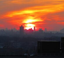 Rooftop sunset, New York City  by Alberto  DeJesus