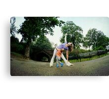 Mom and son practicing Yoga at Central Park, New York Canvas Print