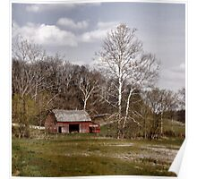 Red Barn White Trees Poster