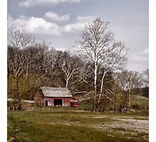 Red Barn White Trees Photographic Print
