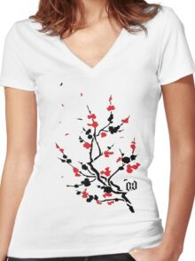 CHERRY BLOSSOMS RED Women's Fitted V-Neck T-Shirt