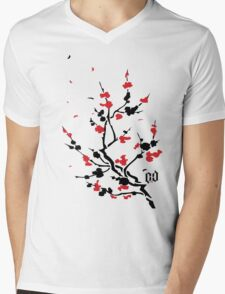 CHERRY BLOSSOMS RED Mens V-Neck T-Shirt